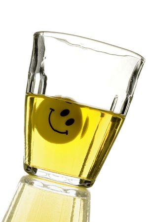 inebriation: a twisted smile in my drink (on white) Stock Photo