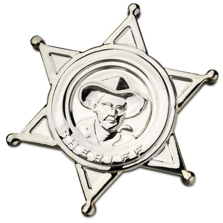 sheriffs: shiny metal sheriffs pin on white - clipping path included
