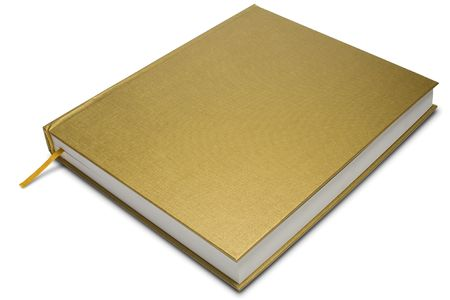 a golden cover hardcover book on white - with clipping path