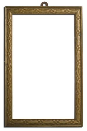 gravure: an old wooden frame on white