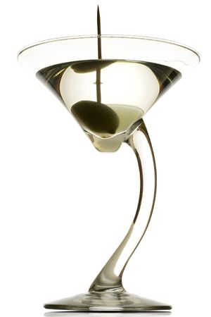intoxicating: a martini glass with the drink and an olive in it (dirty) - on white - clipping path included Stock Photo