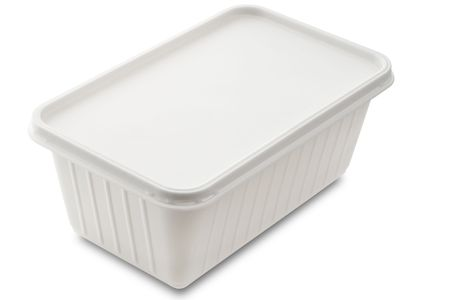 repository: a white plastic food container isolated on white Stock Photo