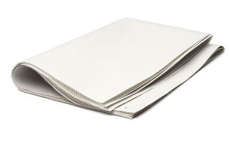broadsheet newspaper: blank newspaper on white