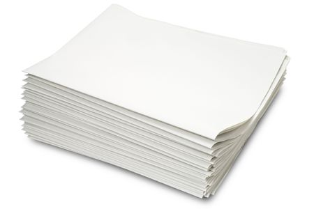 gazette: a stack of blank newspapers on white - with clipping path