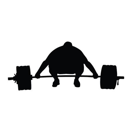 Raising Weights, Silhouette on White Background Çizim