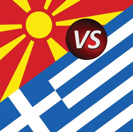 Greece VS Macedonia conflict. Square flags. Cold war illustration.