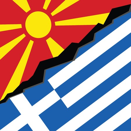 Greece VS Macedonia conflict. Square flags. Cold war illustration. Stockfoto - 126344894