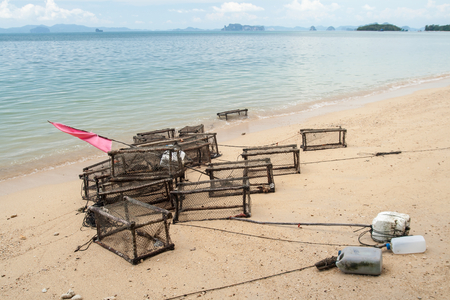 mantrap: Fish traps on the beach Stock Photo