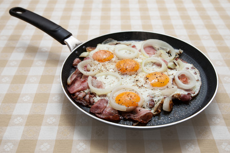 poach: Pan with bacon and eggs on the table Stock Photo