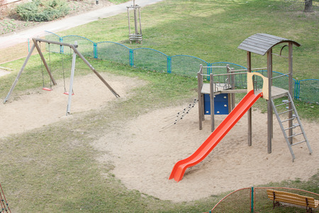 climbing frame: playground with garden and climbing frame for children Stock Photo