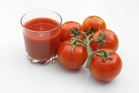 tomatoes and juice Stock Photo