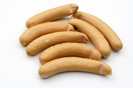 sausages on the white background