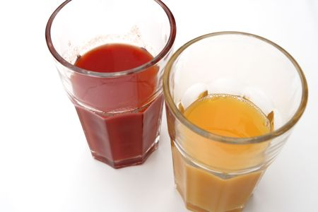 juices on the white background