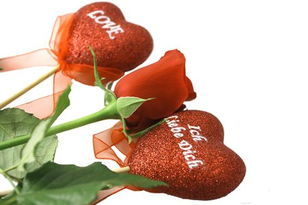 red rose and harts valentins day Stock Photo