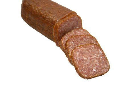 sausage salami on the white background