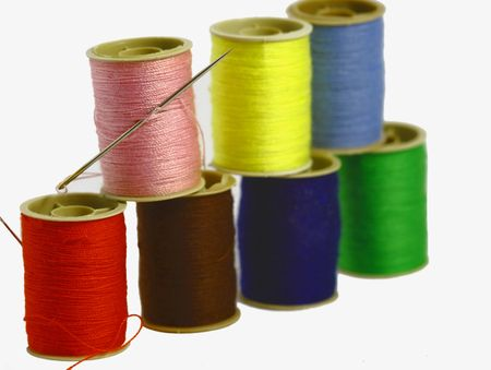 colored threads isoleted on the white background