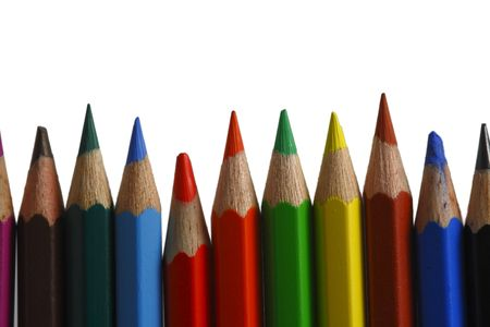 colored pencils on the white background Stock Photo