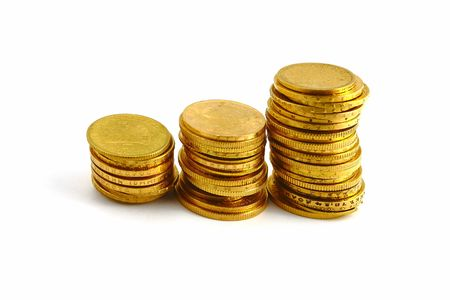 gold coins on the white background