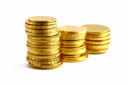 macr: gold coins on the white background