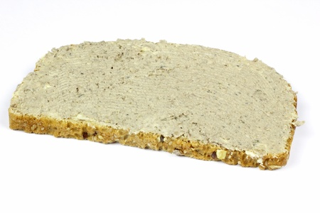 a slice of bread with livewurst Stock Photo