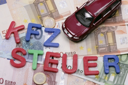 car on the money bills - german vehicle tax