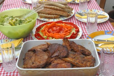 grill bbq in the garden  pork bbq Stock Photo - 19682340