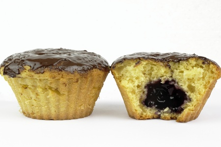 Muffins on the white background