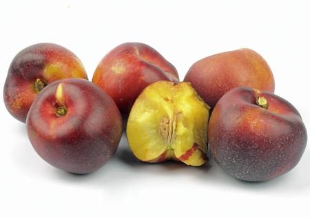 nectarines on the white background