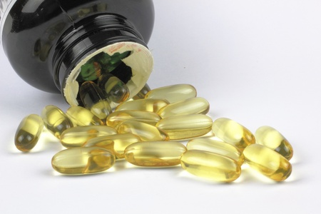fish oil on the white backgrond