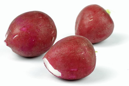 radishes on the white background