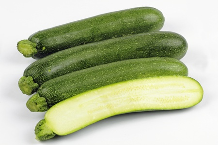 zucchini or courgette on the white background