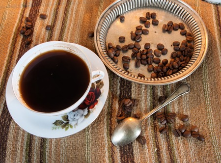 decaffeinated: coffee beans on wooden table Stock Photo