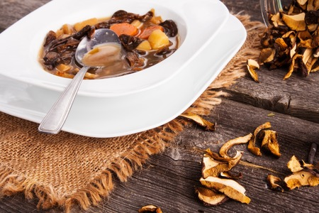 Forest dried mushroom soup in white plate