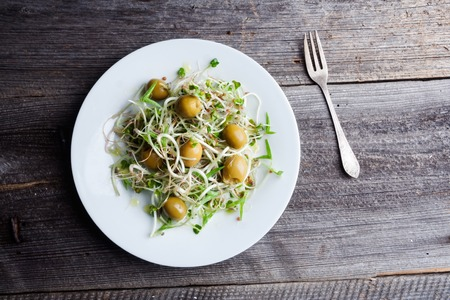 Tasty and healthy mixed sprouts and pickled olives salad photo