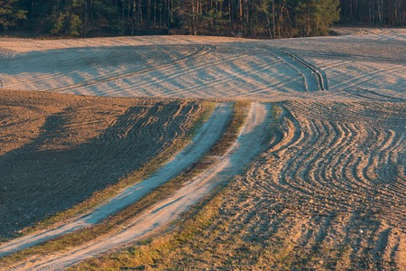 Plowed and sown field landscpe with sandy rural road photographed in Poland at early springtime. Beautiful rural countryside at sunset with golden light photo