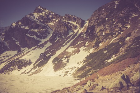 giewont: Beautiful tatra mountains landscape. Photo with vintage mood effect. Stock Photo