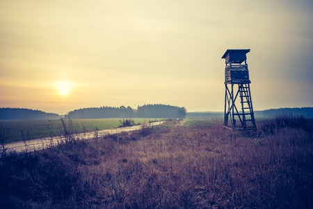 Beautiful field landscape with hunters raised hide. Photo with vintage mood effect 写真素材