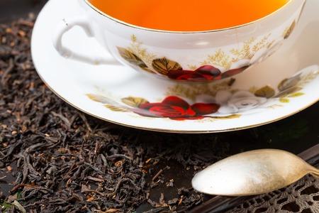 Tea setting on table. Still life. Studio shot. photo