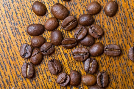 decaffeinated: Coffee beans background, Beautiful dark cofee beans in close up. Studio shot.