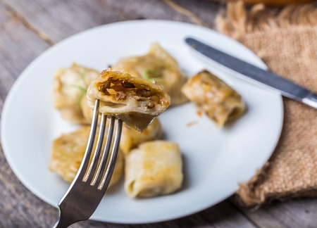 Traditional polish meal - pierogi. Stufio shot with mystic light effect. photo