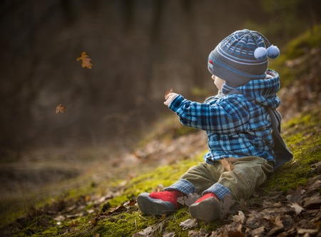 Little boy sitting on forest moss and playing with leaves. Autumn time photo