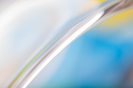 Close up of thick glass, abstract photo. Surface of glass vase.