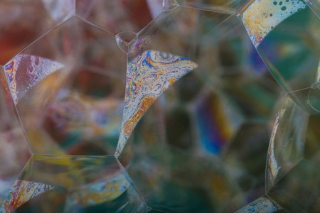 Close up of foam, abstract photo. Soap bubbles macro. photo