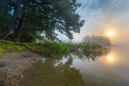 Beautiful sunrise over misty lake. Foggy morning over lake in Mazury lake district, Skand lake near Olsztyn in POland.