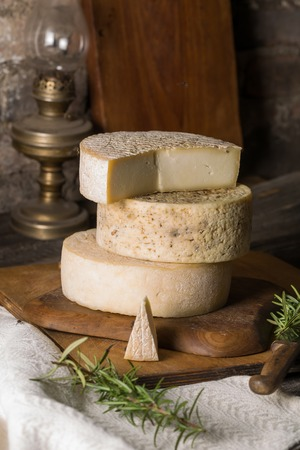 Still life with french goat cheese. Studio shoot with mystic light efect. photo