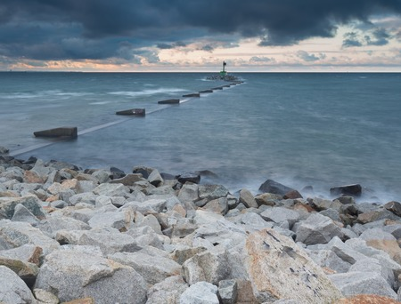 gorki: Baltic shore. Beautiful dramatic weather seascape of polish shore of Baltic sea and mouth of Vistula river in Gdansk. Stock Photo