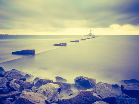 seascape: Vintage photo of Baltic sea shore seascape. Seascape photographed near Gdynia in Poland.