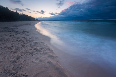 gorki: Beautiful seascape with Baltic sea shore after sunset. Gdansk, Gorki Zachodnie area near Vistula river mouth.