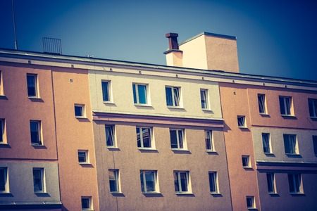 block of flats: Vintage photo of block of flats abstraction. Close up of moder building Stock Photo