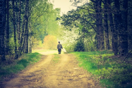 forest path: Vintage photo of man walking by forest path. Photo with vintage mood effect
